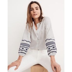 MADEWELL Embroidered Striped Button Up 3/4 Shirt